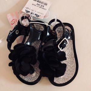 Other - Black floral sandals